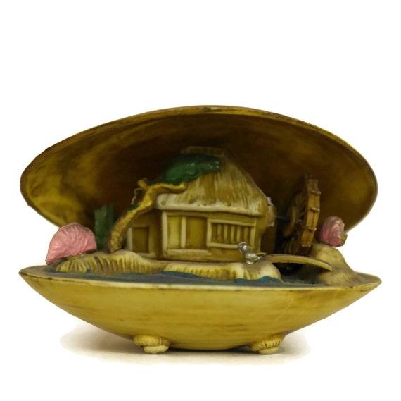 Vintage Japanese Clam Shell Diorama, Celluloid Seashell Figurine, Asian Decor and Souvenir