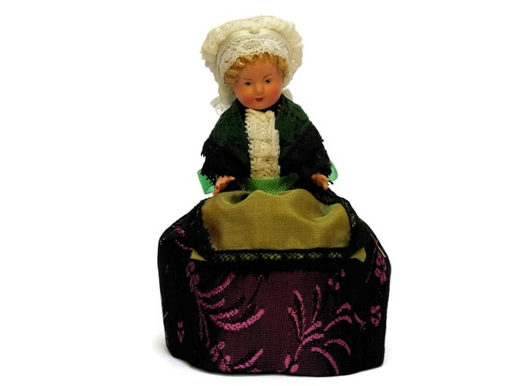 Vintage French Souvenir Doll in Original Box, Collectible Folk Figurine