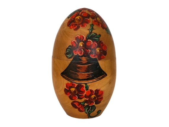 Painted Wooden Easter Egg Box, French Easter Ornament with Bells and Flowers