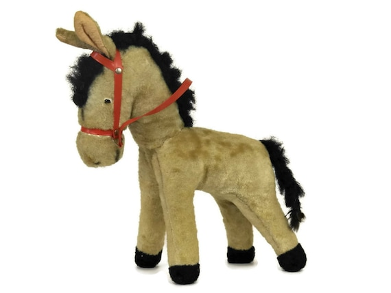 Vintage Stuffed Toy Pony. Toy Horse with Red Bridle. Kids Room Decor. Stuffed Horse Doll.