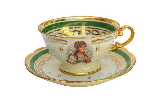 Empress Josephine Bonaparte Tea Cup and Saucer Set, French Empire Style Porcelain