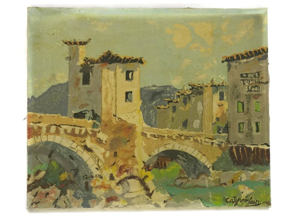 1930s French Village Painting with Stone Bridge by Carpentier.