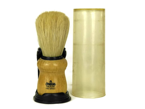 Omega Shaving Brush with Natural Bristles, Made in Italy Mens Accessory, Facial Hair Care, Beards and Mustaches Grooming