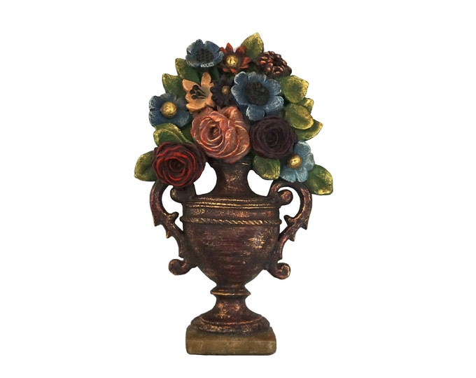 Trompe L'Oeil Flower Vase Garden Wall Plaque, Vintage French Patio and Porch Decor