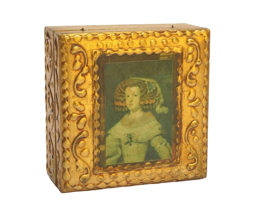 Florentine Wooden Jewelry Box with Velazquez Portrait of The Infanta Maria Theresa of Spain