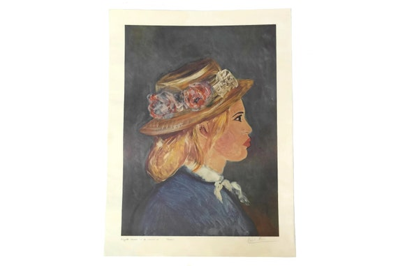 Brigitte Bardot Portrait Lithograph by David Stein in the Style of Renoir, Original French Art Print