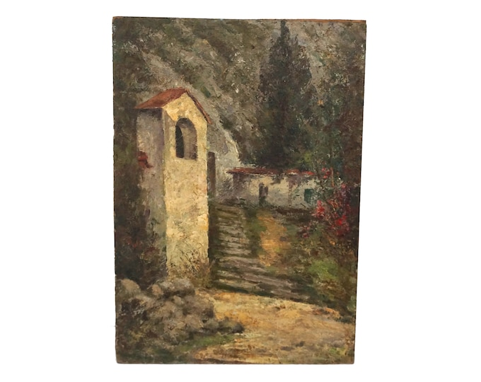 Country Cottage and Dovecote Painting, Rustic French Home Decor and Art