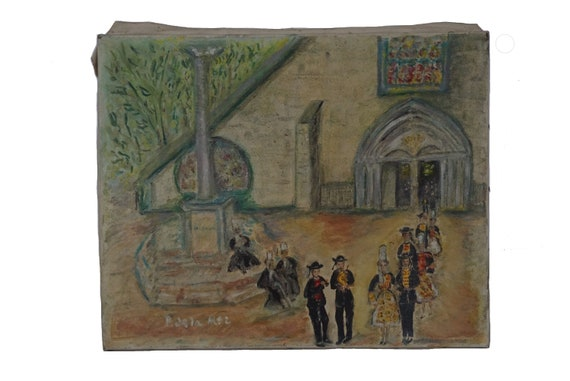 French Breton Wedding Painting Signed Paulette De La Mer, Cathedral Architecture Art
