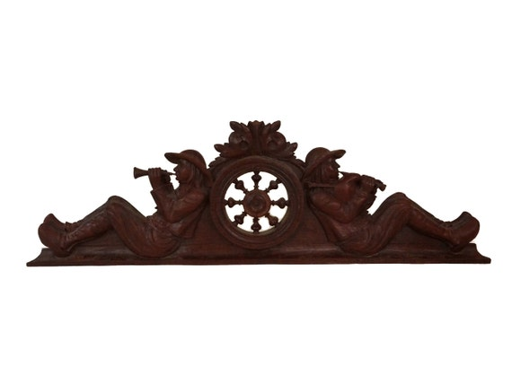 French Breton Wooden Furniture Pediment, Antique Carved Brittany Bagpipes Musicians Figures, Above Door Decor