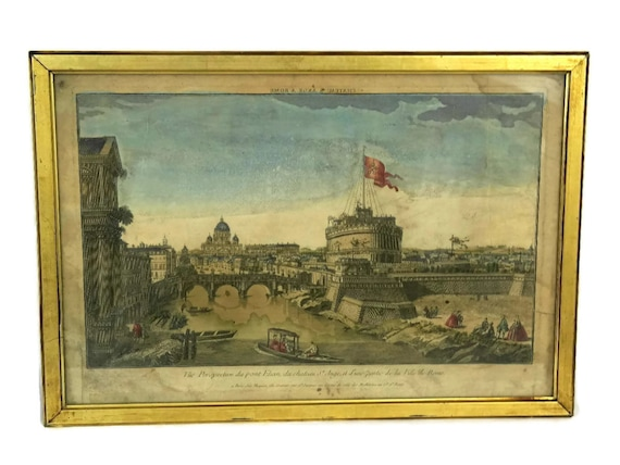 French Antique Framed Engraving with View of Rome, Hand Colored Aquarelle Print