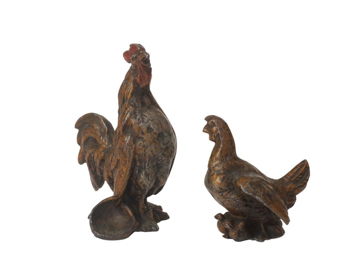 Cold Painted French Hen and Rooster Figurines, Antique Miniature Metal Chicken Figures