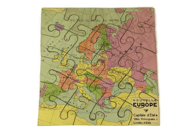 French Vintage Europe Map Jigsaw Puzzle, Kids Travel Game