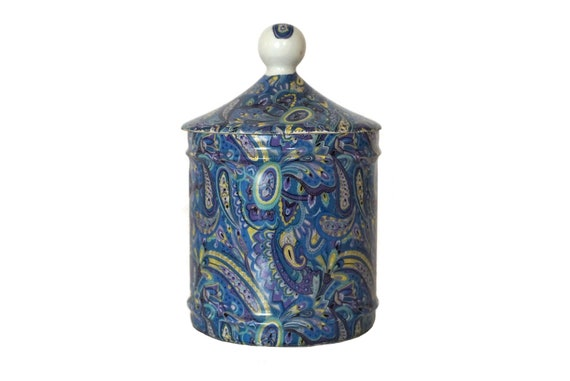 Limoges Porcelain Canister with Blue Paisley Design, Vintage French Ceramic Bathroom Storage Jar