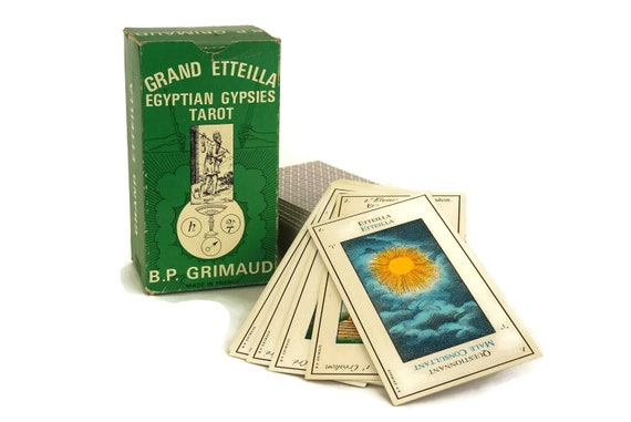 Grand Etteilla Tarot Card Deck, Vintage Egyptian Gypsies Prophecy and Fortune Telling Cards, French  Cartomancy  by B.P Grimaud