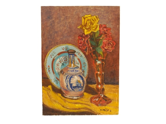 French Rose Still Life Painting with Bottle and Plate, Original Flower Art