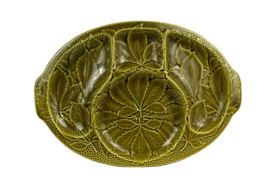 Leaf Plate Serving Platter and Snack Dish, French Gien Majolica