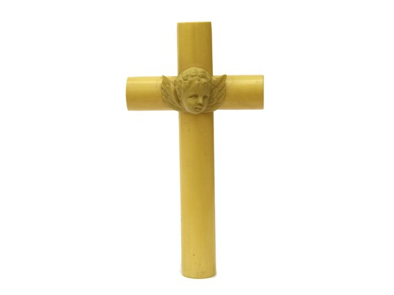 Antique French Cherub Crib Protector Crucifix, Religious Celluloid Cross