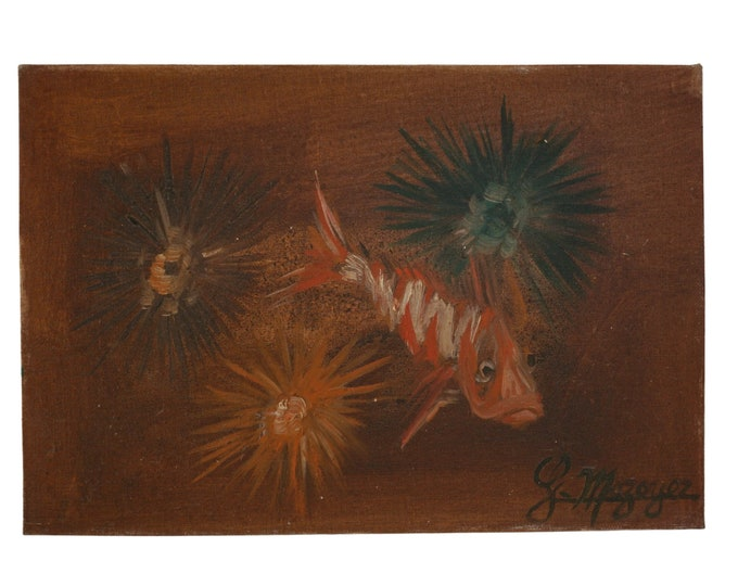 Underwater Fish and Sea urchin Painting, French Mediterranean Seascape Art by Georges Mazoyer