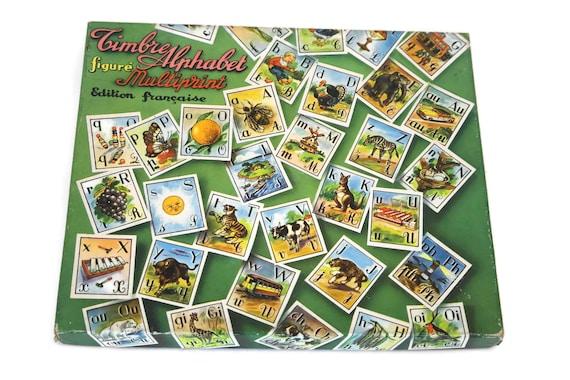 Alphabet Stamp Set Vintage French Kids Rubber Block