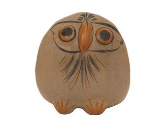 Mid Century Mexican Tonala Pottery Owl, Vintage Folk Art Clay Bird Figurine