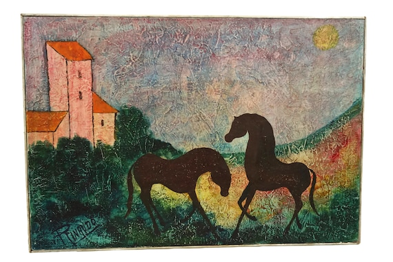 Vintage Horse Oil Painting, French Mid Century Original Equestrian Art Wall Decor