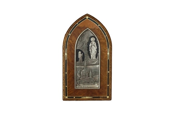 French Lourdes Souvenir Plaque with Saint Bernadette and Virgin Mary, Catholic Gifts