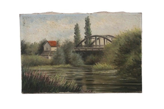French Country Landscape Painting with Cottage and Bridge, Original Art Signed Pierpigeon