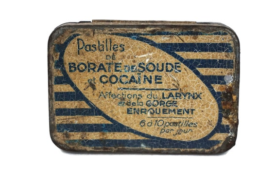 Antique Cocaine Medicine Box, French Pharmacy Medical Tin Box