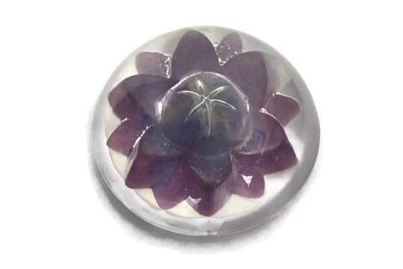 Vintage Daum Crystal Flower Paperweight with Purple Waterlily, French Desk Decor and Coworker Gift
