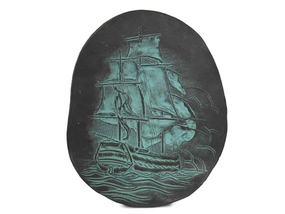 Sailing Ship Art Wall Plaque by Roy Poette, Mid Century Home Decor, Nautical & Coastal Gifts for Him