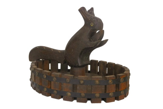 Squirrel Nutcracker and Nut Bowl, Vintage Holiday Table Centerpiece