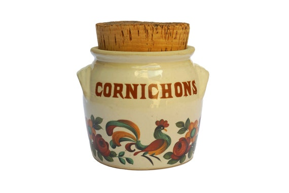 Stoneware Pickle Jar with Cork Lid, French Rooster Rustic Decor