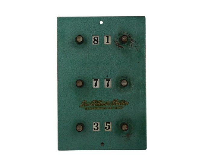 Vintage French Billiard Point Counter,  Wall Hanging Pool Table Score Marker