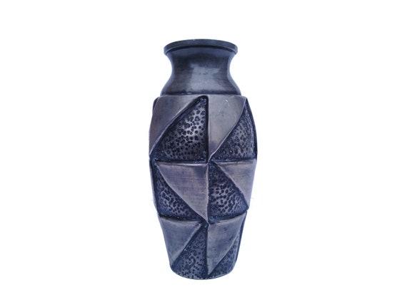 Art Deco Pewter Geometric Vase, Antique French Brutalist Metal Urn