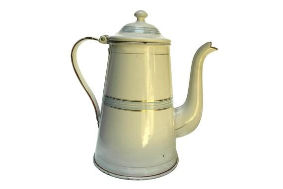 Vintage French Enamel Coffee Pot, Enamelware Kitchen Decor