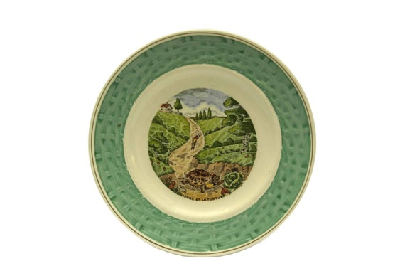 The Hare and the Tortoise La Fontaine Fables Wall Plate, Vintage French Faience