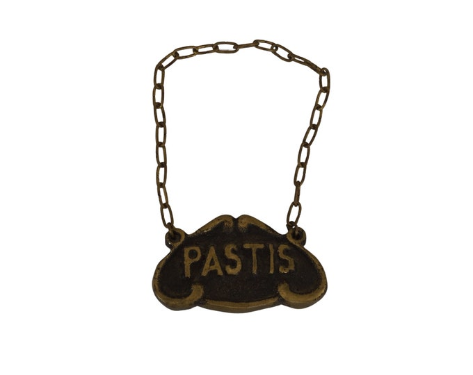 French Pastis Bottle Label, Vintage Brass Liquor Decanter Tag on Chain