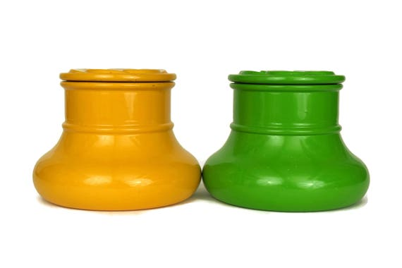 Glass Canister Set, 1970s French Storage Jars, Vintage Mustard Yellow and Green Kitchen Decor, Daisy Pattern