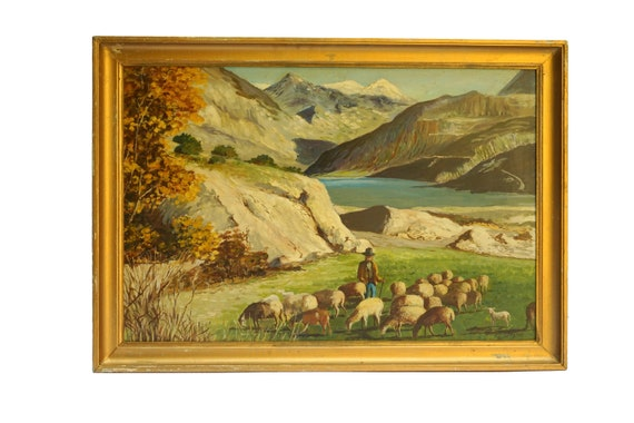 Swiss Alps Mountain Painting with Shepherd and Sheep, Switzerland Landscape Travel Art and Wall Decor