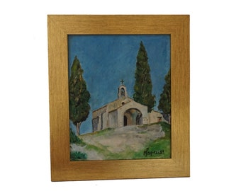 French Country Eygalieres Church Painting, Rustic Provence Wall Art, Country Landscape with the Chapel Saint Sixte