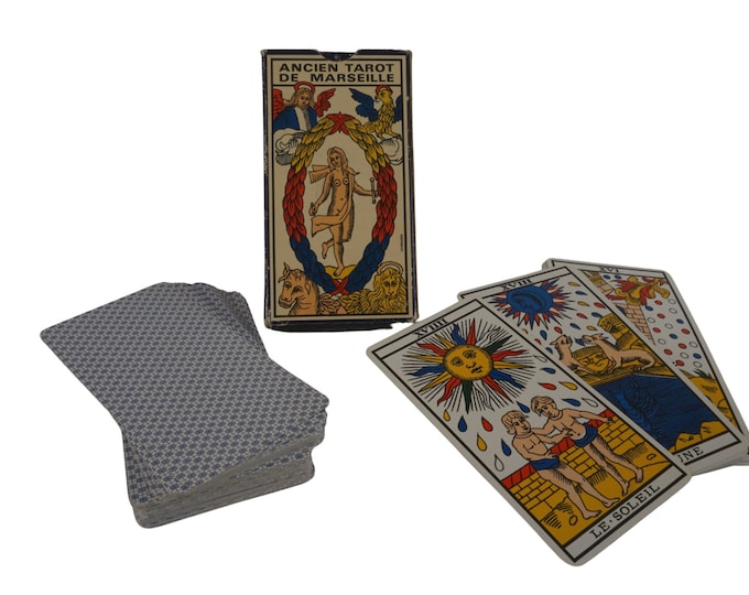 Vintage French Divination Tarot of Marseille Deck, Fortune Telling Cards, BP Grimaud