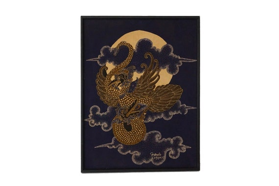 Indonesian Batik Bird Wall Hanging, Vintage Indigo Hand Painted Javanese Garuda Fabric Art