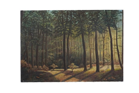 French Forest Clearing Painting, Scenic Woodland Landscape Art with Pine Trees