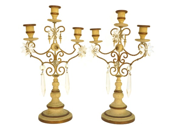 Antique Girandole Candelabra Pair, French Crystal Candlestick Chandeliers