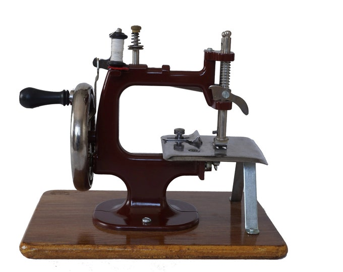 French Miniature Toy Sewing Machine with Crank Handle, Mid Century Craft Room Decor