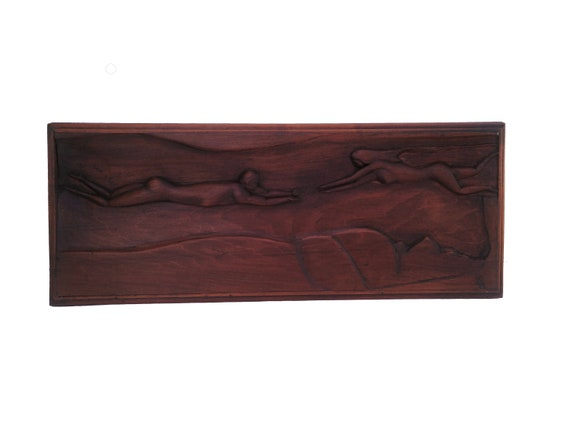 Art Deco Bas Relief Wooden Plaque with Nude Swimming Woman and Man Figures, French Hand Carved Wall Hanging Panel
