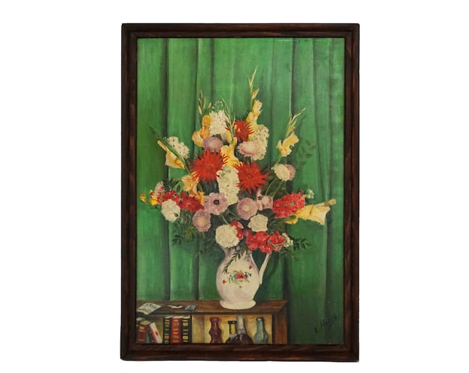 Mid Century Flowers Still Life Painting, French Floral Bouquet Art