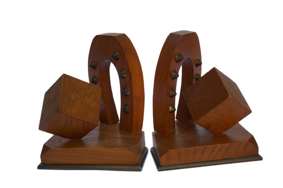 Art Deco Horse Shoe Bookends, Hand Carved Wood and Bronze