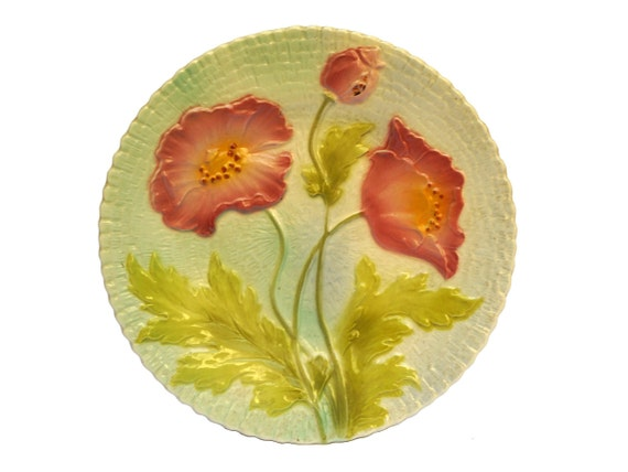 Antique Majolica Poppy Plate, French Ceramic Flower and Leaf Wall Decor