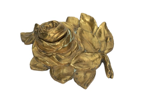 French Antique Brass Rose Inkwell, Office Desk Decor